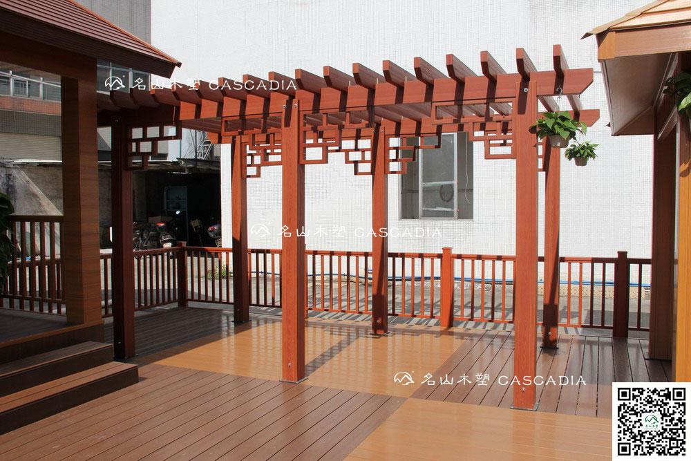名山木塑--木塑花架,葡萄架,钢结构 asa木塑共挤,防水防虫不褪色不